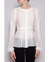 Chanel WHITE SILK BLOUSE WITH PINK UNDER DRESS