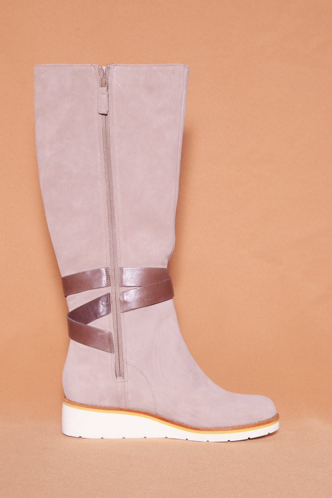 Cole Haan TAUPE HIGH SUEDE AND LEATHER BOOTS - NEW