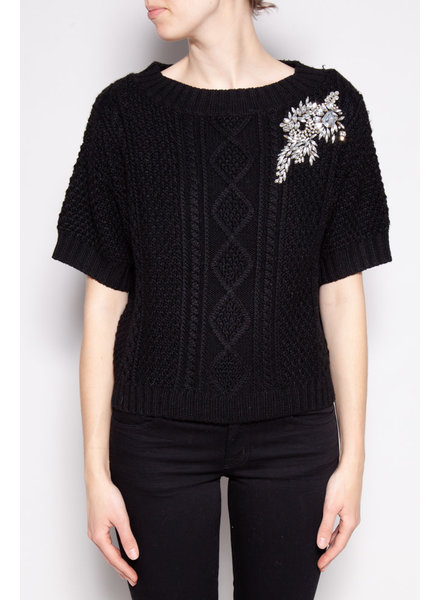 Love Moschino BLACK KNITTED TOP WITH STRASS