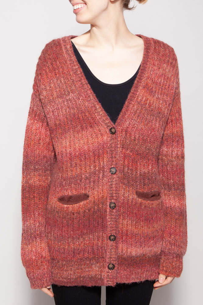 Naadam RED CARDIGAN WITH APALCA WOOL - NEW