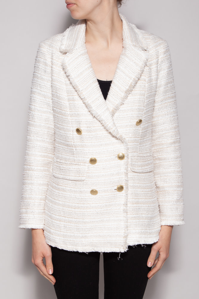Notes du Nord GOLDEN BUTTONS IVORY BLAZER - NEW WITH TAG