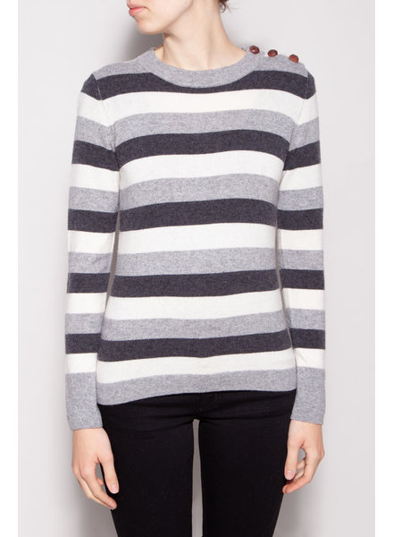 Notes du Nord SHADES OF GRAY STRIPED CASHMERE SWEATER - NEW WITH TAG