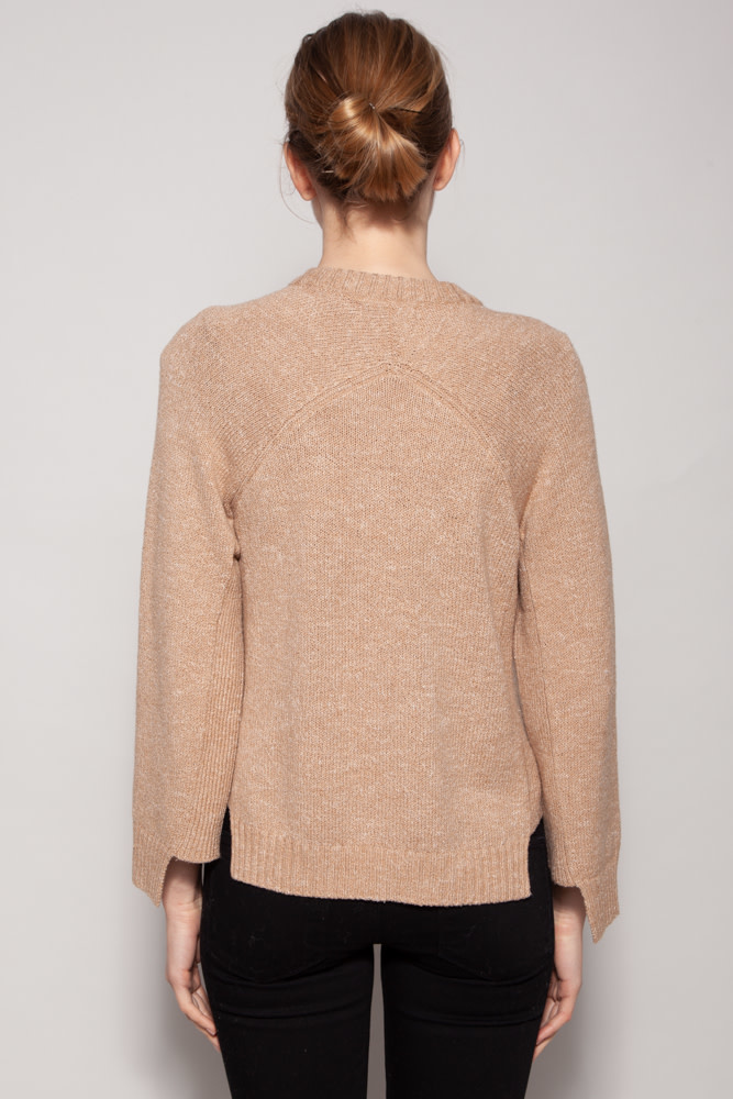 Naadam CAMEL OPEN CUFF CREW PULLOVER - NEW WITH TAG