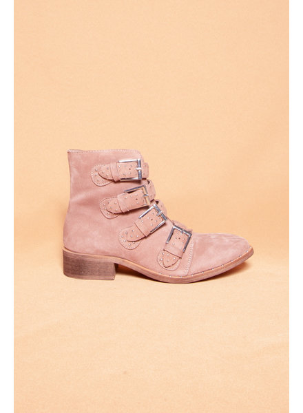 BLUSH SUEDE STUDDED BOOTS - NEW