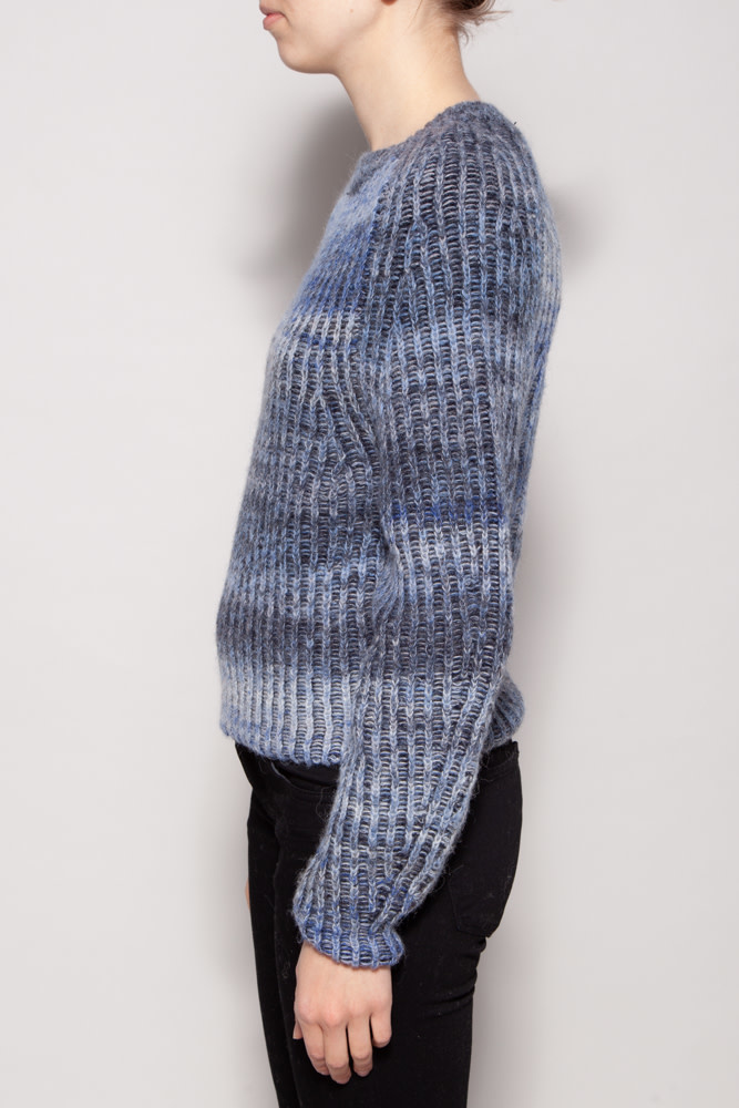 Naadam BLUE CREWNECK SWEATER WITH ALPACA & CASHMERE - NEW WITH TAG