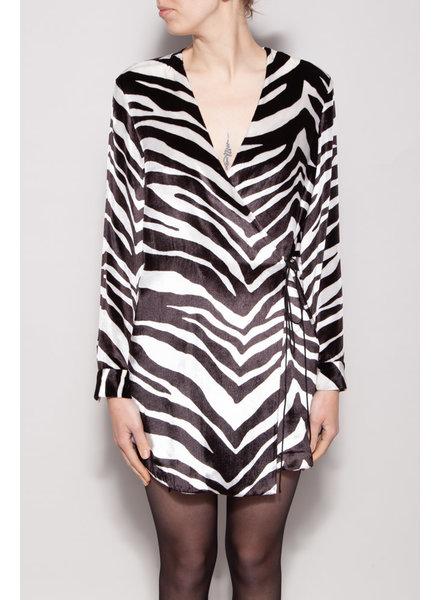 Michelle Mason NEW PRICE (WAS $140) - ZEBRA PRINT SILK WRAP DRESS - NEW
