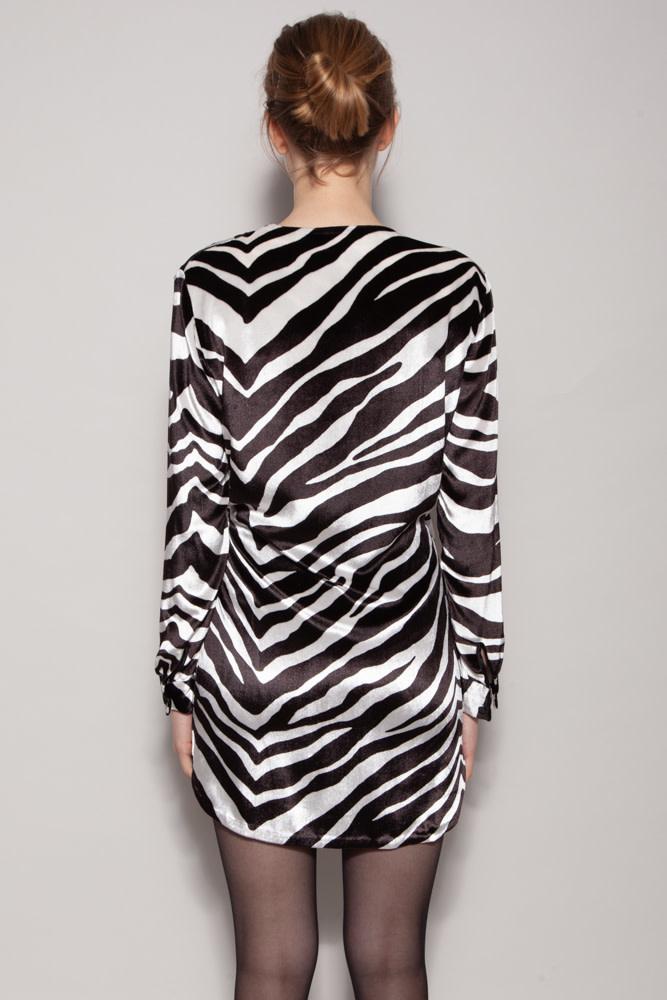 Michelle Mason ZEBRA PRINT SILK WRAP DRESS - NEW