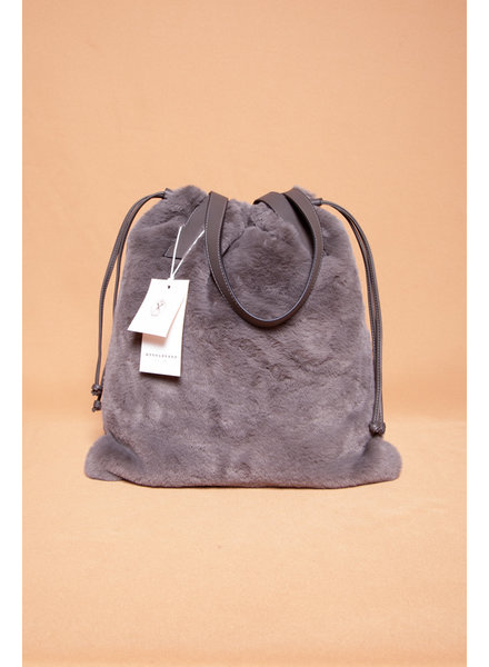 Rino&Pelle LARGE GRAY FAUX FUR TOTE BAG - NEW WITH TAG