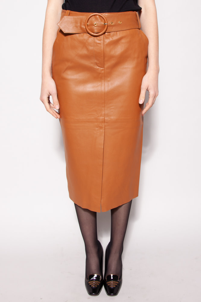 Notes du Nord COGNAC LEATHER SKIRT - NEW