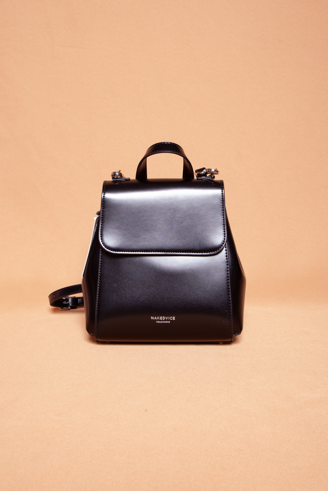 nakedvice SMALL BLACK LEATHER BACKPACK - NEW WITH TAG