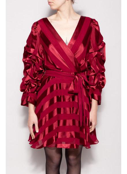 Alice + Olivia RED BURGUNDY SILK DRESS - NEW