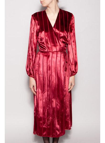 Michelle Mason BURGUNDY VELVET WRAP DRESS - NEW