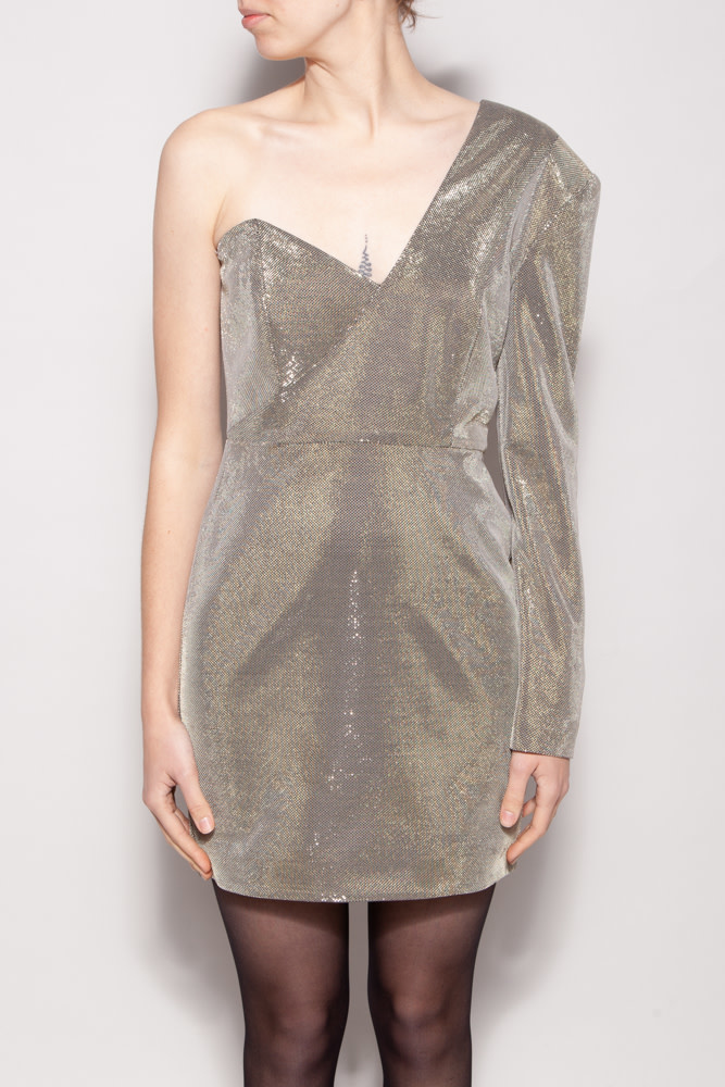 Michelle Mason ASYMMETRIC SPARKLY DRESS - NEW