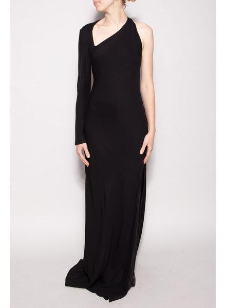 Michelle Mason BLACK ASYMMETRIC LONG DRESS - NEW