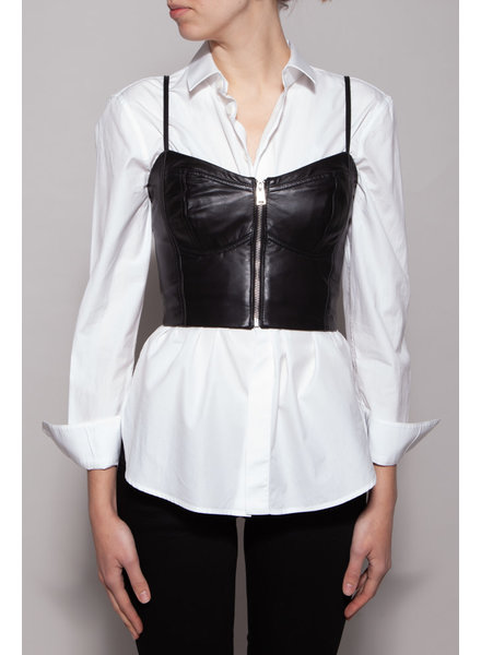 Lamarque NEW PRICE (WAS $95) - BLACK LEATHER BUSTIER WITH ZIPPER - NEW