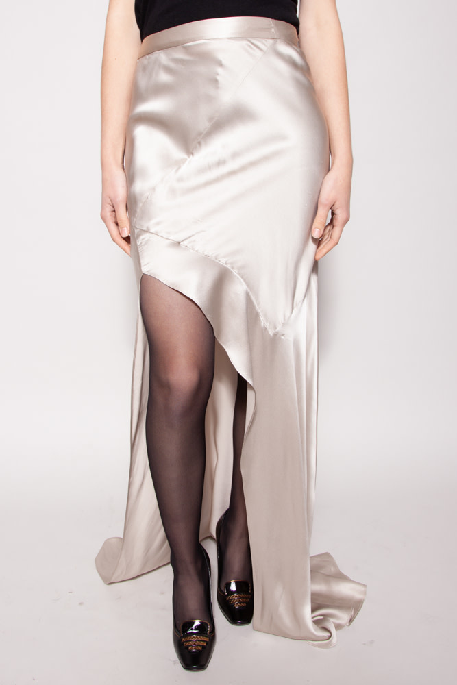 Michelle Mason LONG CHAMPAGNE SILK SKIRT - NEW WITH TAG