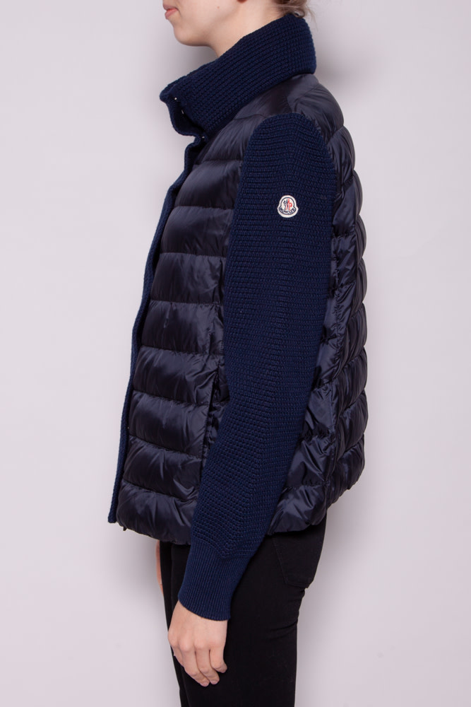 Moncler BLUE DUVET AND WOOL BI-MATERIAL JACKET