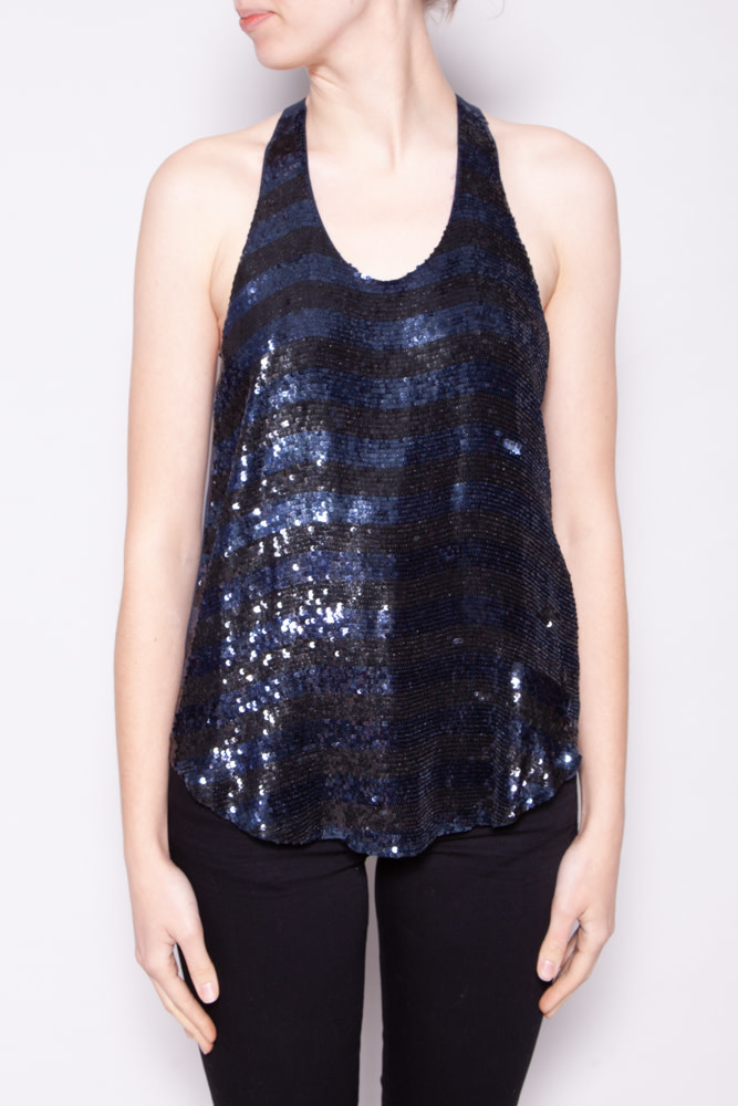Haute Hippie BLACK AND BLUE SEQUINED SLEEVELESS TOP