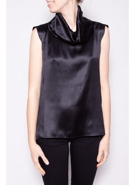 Yves Saint Laurent BLACK SILK SLEEVELESS TOP