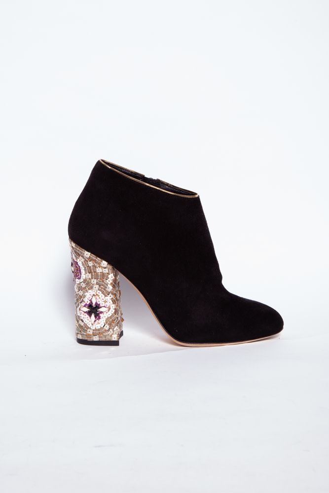 Dolce & Gabbana BLACK SUEDE ANKLE BOOTS AND SEQUINS DETAILS