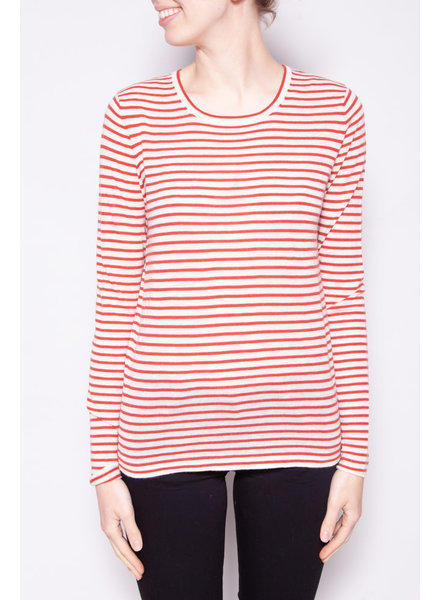FORTE FORTE RED AND WHITE STRIPED CASHMERE TOP