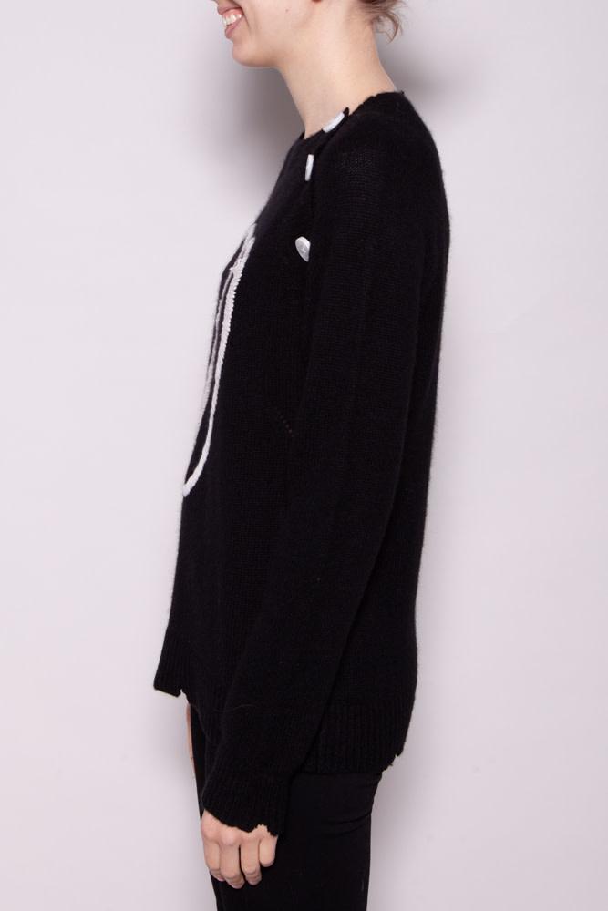 Zadig & Voltaire BLACK AND WHITE CASHMERE SWEATER