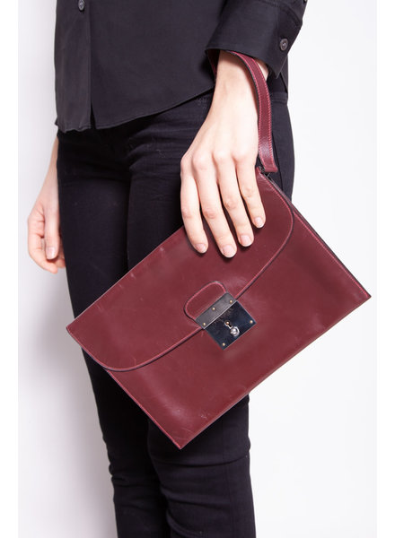 Hermès BURGUNDY LEATHER VINTAGE ''JET'' CLUTCH