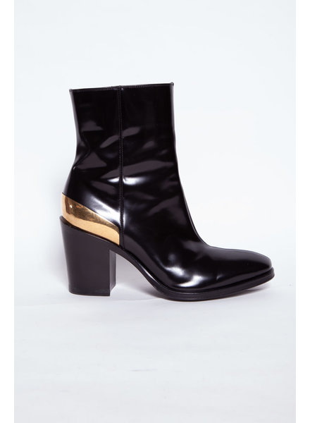 Céline BLACK LEATHER BOOTS WITH GOLDEN DETAIL