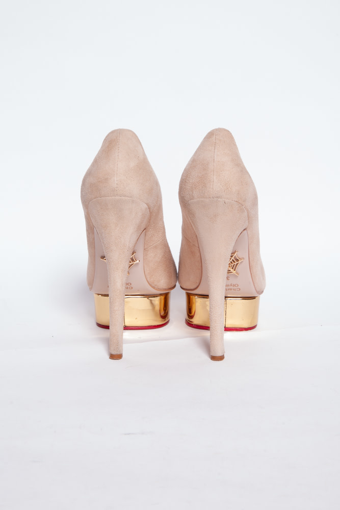 Charlotte Olympia DOLLY 140 BEIGE SUEDE PUMPS