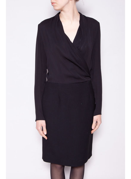 Maison Martin Margiela BLACK BI-MATERIAL CROSS-COLLAR DRESS