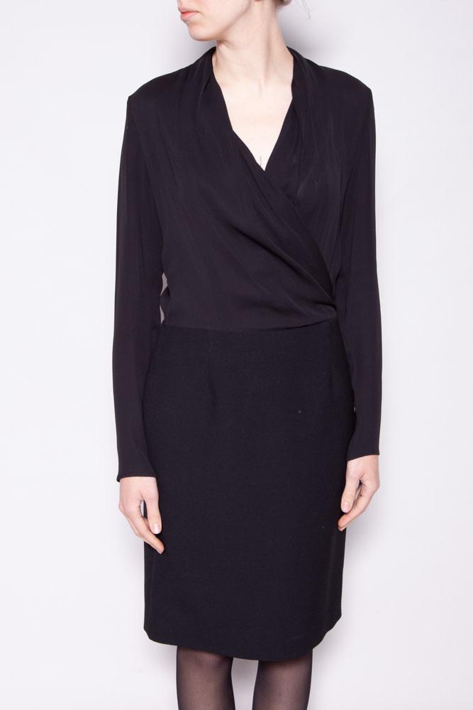 Maison Martin Margiela BLACK BI-MATERIAL CROSS-COLLAR DRESS