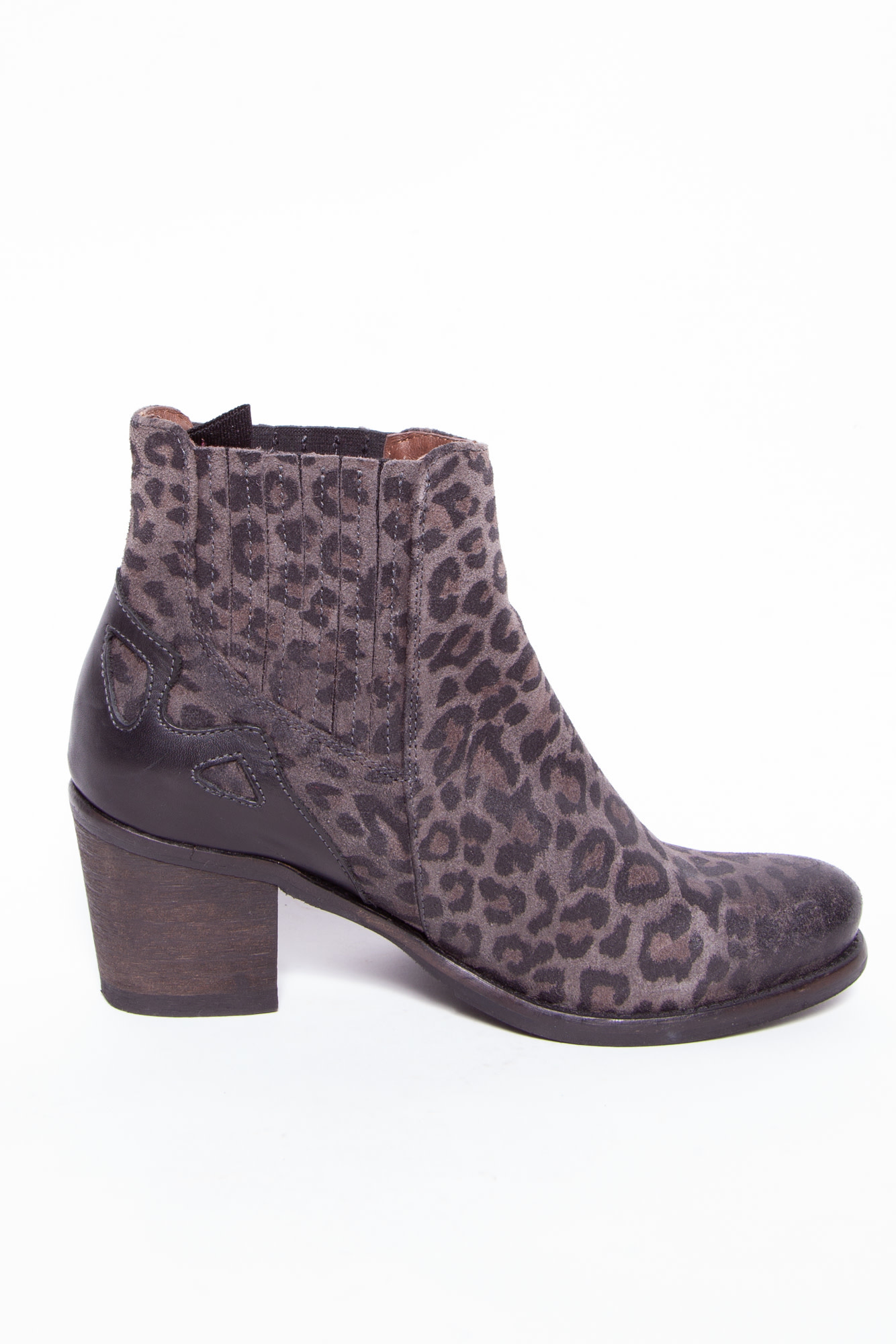 Coqueterra GRAY AND BLACK LEOPARD PRINT ANKLE BOOTS