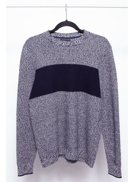 Naadam BLUE AND WHITE CASHMERE & MERINO WOOL KNITTED SWEATER - NEW - FOR MEN
