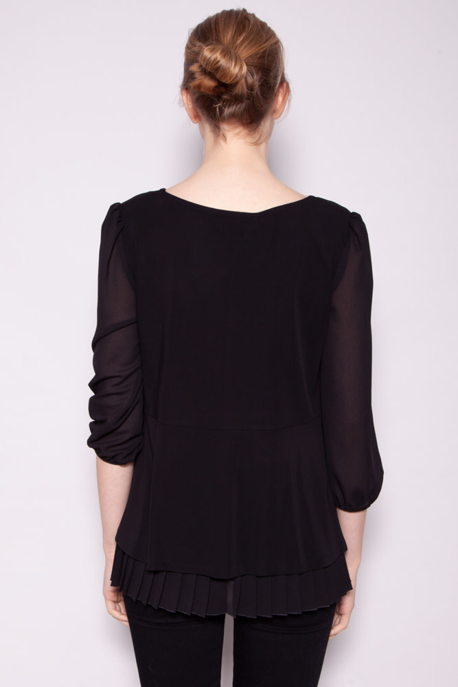 MaxMara Studio BLACK TOP WITH STRASS COLLAR - NEW WITH TAGS