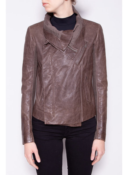 Rick Owens BROWN WORN-EFFECT LEATHER JACKET