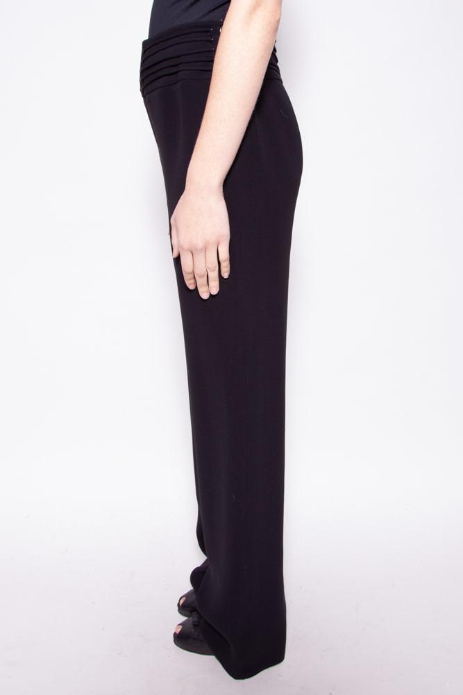 Giorgio Armani BLACK SILK HIGH WAISTED PANTS