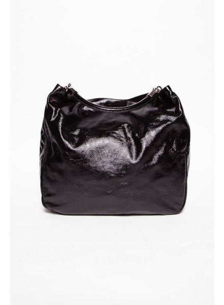 Yves Saint Laurent BLACK PATENT ''ROADY'' HOBO BAG
