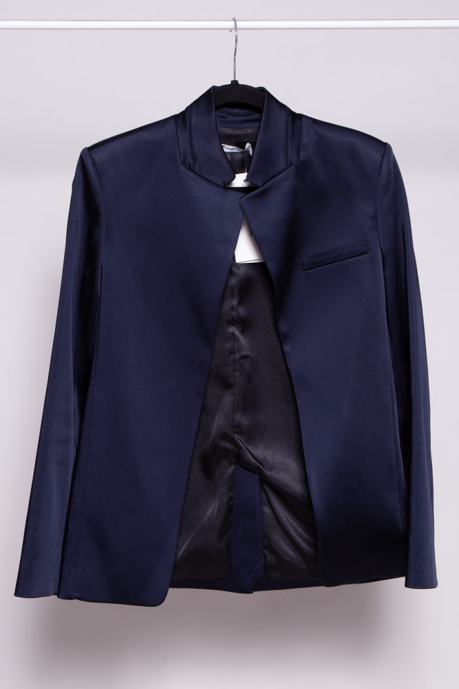 T by Alexander Wang DARK BLUE SATIN BLAZER - NEW WITH TAGS