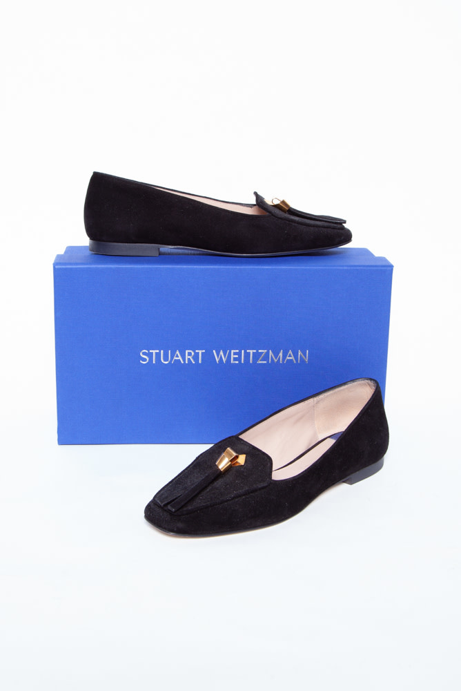 Stuart Weitzman BLACK SUEDE SLIPKNOT LOAFERS