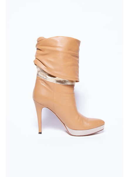 Gucci BEIGE HIGH HEELS LEATHER BOOTS