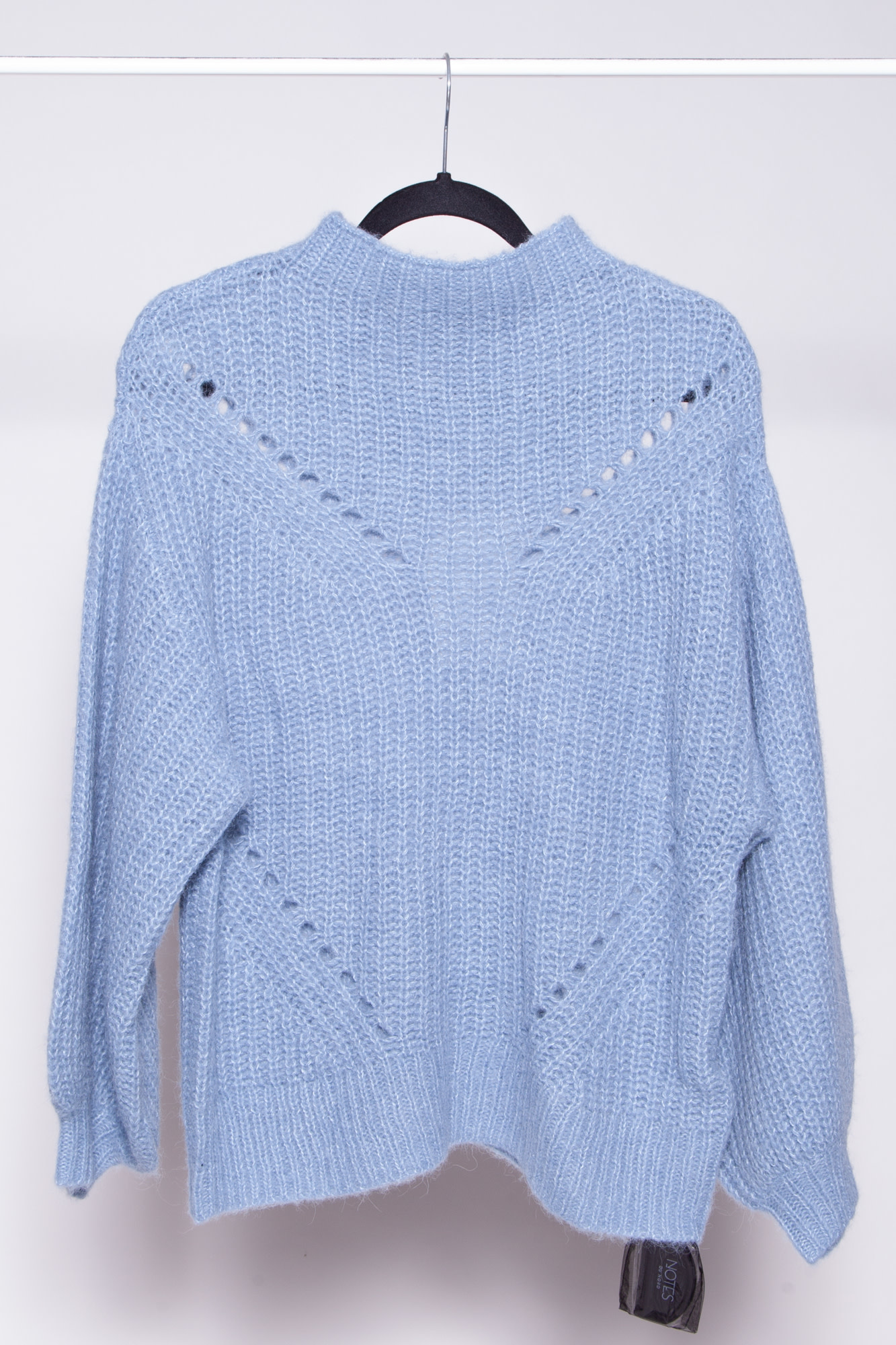 Notes du Nord REX BLOUSE BLUE SWEATER WITH APALCA WOOL - NEW