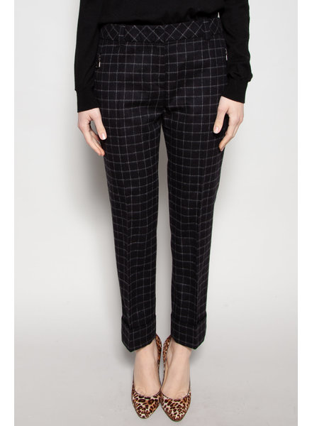 Akris Punto BLACK AND WHITE CHECKERED WOOL PANTS