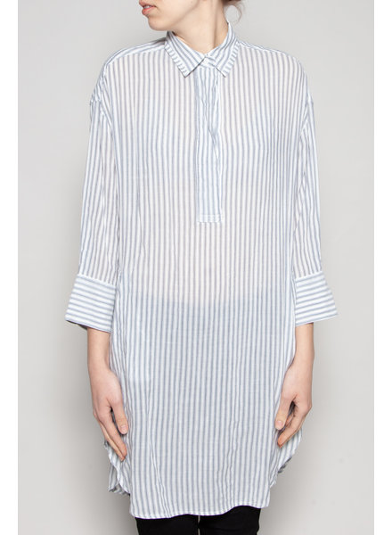 Yaya LONG WHITE SHIRT WITH BLUE STRIPES