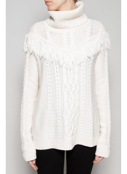 Joie OFF-WHITE FRINGE SWEATER