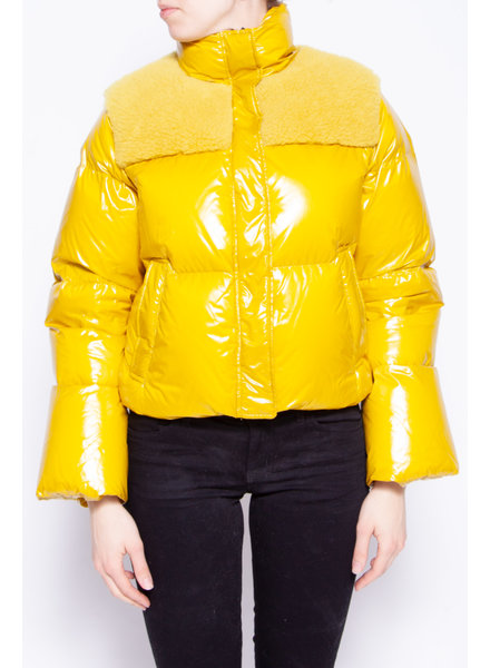Series by Nicole Benisti YELLOW CROPPED PUFFER COAT