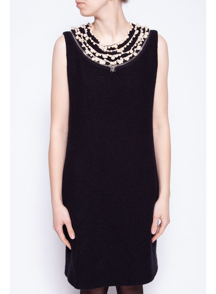 Moschino BLACK DRESS WITH PEARL COLLAR