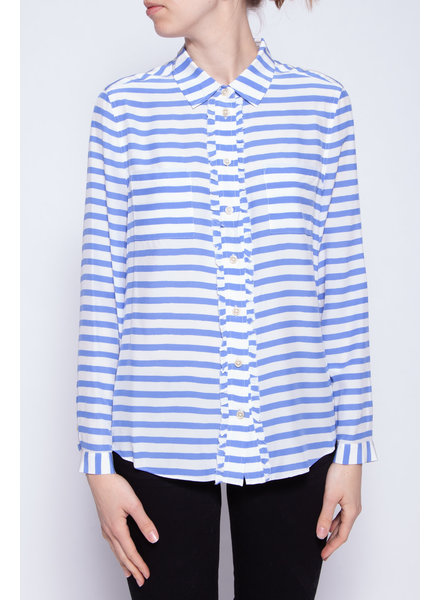 Kate Spade WHITE AND BLUE STRIPED BLOUSE