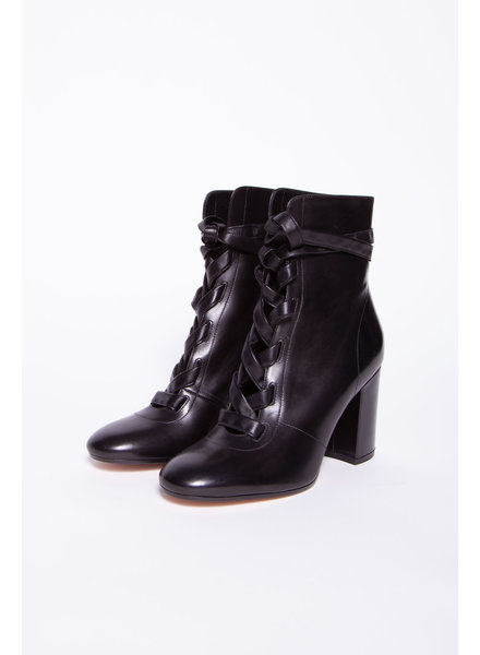 Gianvito Rossi BLACK LEATHER BOOTS WITH LACES - NEW