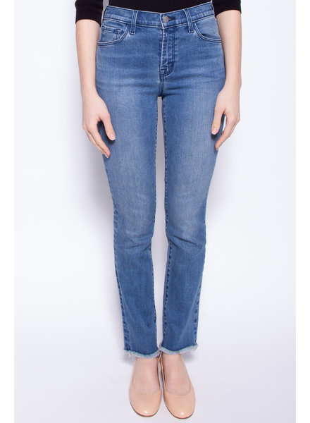 J Brand BLUE STRAIGHT HIGH RISE JEANS