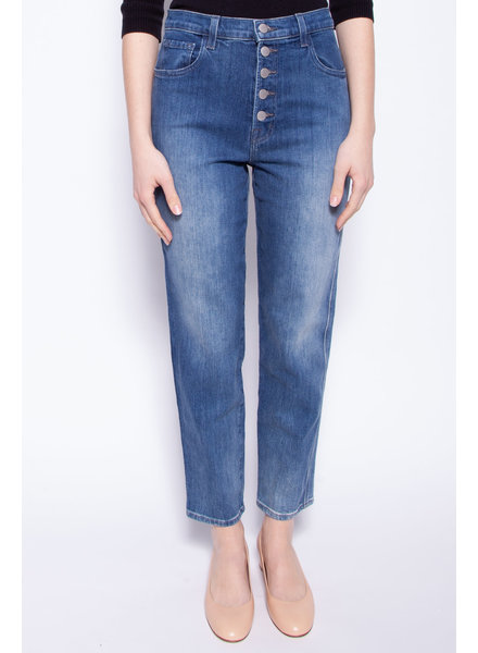 J Brand BLUE STRAIGHT JEANS WITH BUTTON FLY